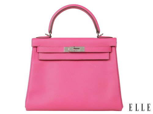 elle:  Future Perfect This Hermès Kelly bag is crafted from Epsom calfskin and packaged in a quaint shade of pink dubbed Candy 28. Although this price tag isn't for kids ($7,250), the bag is the kind of a classic that will be passed down for generations to come.  Photo: courtesy of Hermès