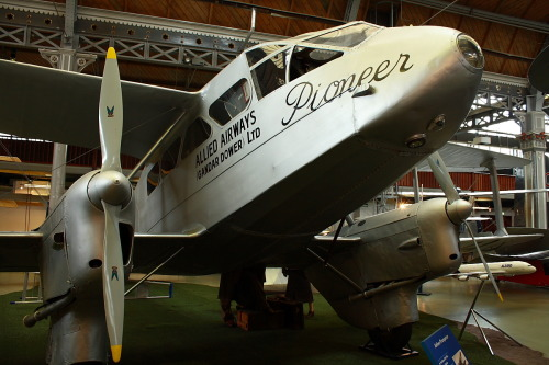 Dragon Rapide aeroplane, made by De Havilland Aircraft Co. Ltd in 1935 at Manchester Museum of Science. It is perhaps the most successful British-built commercial airplane in the 30's.   Dragon Rapide at wikipedia