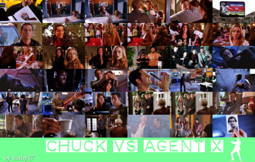 "Chuck Versus Agent X  4x22  Chuck  and Sarah put aside spy work to have a weekend of debauchery, but  Awesome's plans for Chuck's big night don't go quite as expected.  Meanwhile, Ellie's investigation into her father's computer leads to a  life-changing discovery.   Chuck (Zachary Levi) e Sarah (Yvonne Strahovski) colocam o mundo da  espionagem de lado para ter um final de semana de festa, mas Awesome's  (Ryan McPartlin) planeja para que a grande noite de Chuck  não ocorra  como esperada.  Enquanto isso, a investigação de Ellie (Sarah Lancaster)  no computador de seu pai a leva para uma descoberta que muda a sua  vida. Também estrelam Joshua Gomez, Sarah Lancaster, Adam Baldwin, Scott  Krinsky e Vik Sahay. Source: NBC   Images+ Quotes: Welcome to Vecas!      Ellie: We have to get you tired before you can rest.Sarah: Tired?     Um… Oh, okay, uh, I mean, do you mind if I make a phone call? All right. Oh. Okay. Um… I'm sorry. I don't mean to look at… I'm sorry. Okay, um… General, I need you to put me in touch with our agents in Las Vegas, please. Ooh, um, is that a gun? No.  its that a gun ..no!!!  CHUCK: Vegas, Vegas. What does a bachelor wear in Vegas?SARAH: I can't believe you've never been to Vegas. And, by the way, a bachelor does not wear that.CHUCK: What? You're not digging the whole business up-top, party  below-the-waist thing? I figured it covered all the Vegas activities  with one fell swoop. Speaking of ""looks"", you're sure doing an awful lot  of maintenance over there.SARAH: Oh, I'm just reminding you of what you'll be missing out on in Vegas.CHUCK: Oh, trust me, I'll remember.     i might be agent x"