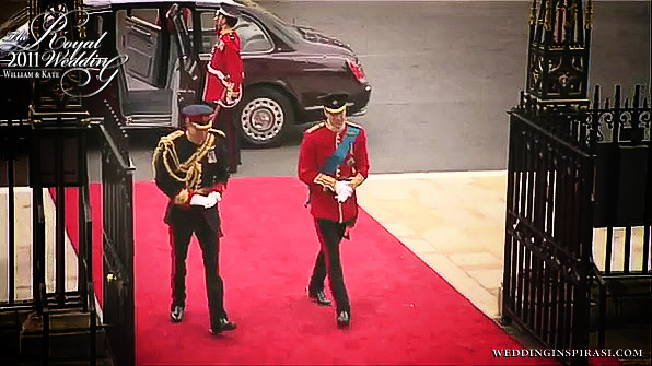 Prince William, Duke of Cambridge and his brother, Prince Harry arrive at Westminster Abbey.