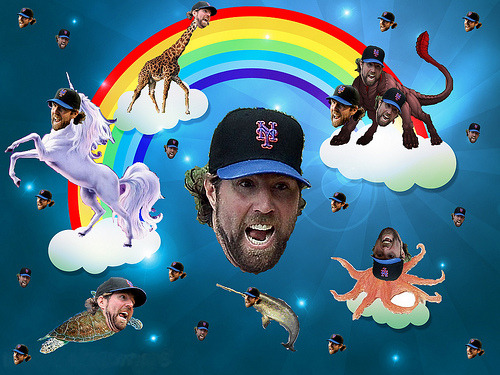 "The Giants are facing R.A. Dickey tonight. The anemic Giants offense facing a knuckleball pitcher could either be really, really amazing or a complete nightmare.  I'm fighting the urge to curl up in the fetal position under my desk right now. This image never fails to amuse me though.  It's too bad Madison Bumgarner isn't pitching today.  It would have been a battle of awesome pitching faces. Now if you'll excuse me, I'm going to go work out now. Perhaps if I work off some excess energy, I'll feel less of a need to bang my head against the wall when I see Miguel Tejada's name in the lineup later today. Dickey Extravaganza (by ethsurken) from the Amazin' Avenue ""R.A. Dickey Face"" Contest last year."