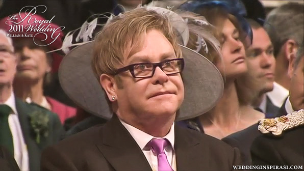 Singer-songwriter Sir Elton John who attended the wedding with his partner David Furnish