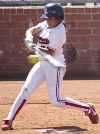 Arizona softball player at bat