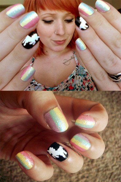 tinytangerines:  ♥ UNICORNS AND RAINBOWS ♥ colors used Sinful Colors - Beautiful Girl (pink) ORLY - Lemonade (yellow) Revlon - Minted (green) ORLY - Lollipop (lavender) pure ice - don't you wish (glitter) wet 'n' wild - 424A (black) NYC - 134 (white) NYC - extra shiny top coat