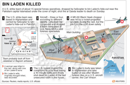 soupsoup:  Reuters infographic of how Bin Laden operation was carried out.   For those of you too lazy to do all the research. The woman killed was being used and a human shield, by the way. They left that out.
