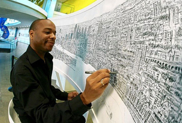 Stephen Wiltshire  Disability: Autistic Savant Wiltshire was born in 1974 in London to West Indian parents. He is an autistic savant and world famous architectural artist. He learned to speak at the age of nine, and at the age of ten began drawing detailed sketches of London landmarks. While he has created many prodigious works of art, his most recent was a eighteen foot wide panoramic landscapeof the skyline of New York City, after only viewing it once during a twenty minute helicopter ride. (via)
