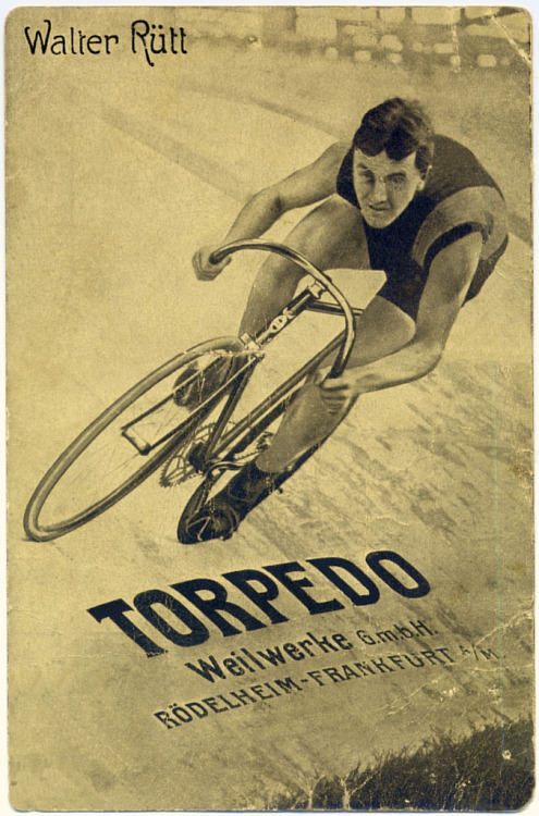WALTER RÜTT FOR TORPEDO CYCLES   The first German ever to win a Six Day Race circa 1907.  From the fine collection of letterlust on Flickr.
