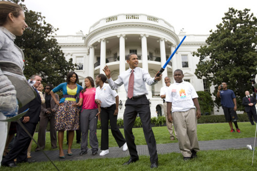 f0ook:  Never not reblog the president holding a lightsaber.