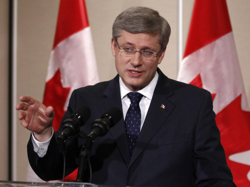 "Stephen Harper celebrated his first federal majority win late Monday night by downing what was left in a bottle of bubbly. Speaking with reporters Tuesday morning, Harper told how his staff ""made me pop this Champagne"" in one of the party's hotel rooms. ""After I said a few words, they passed me the Champagne and wanted me to guzzle it out of the bottle. And as some of you may know, I am not much of a drinker, but I did. However, they tricked me — there was only that much in it,"" he said, motioning with his fingers close together. ""So much for my wild side."""