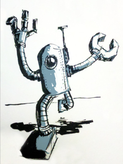 chrisswierczek:  One thing you need to know about me is that I like robots…a lot! Be on the look out for plenty more in the near future. This was a quick one I did on paper with a brush pen and tones added in photoshop.