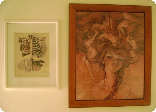 "onewiththefreaks:  Rebecca Ladds' ""Soft Anatomy"" and Audrey Kawasaki's ""She Entwined"". Really LOVE them both and I'm glad I had an opportunity to get both.  I wanted to include this on my instillness blog because it makes my heart explode. For those of you who don't know, Audrey Kawasaki is my favourite artist so this IS THE BIGGEST COMPLIMENT EVER. Thank you so much Nancy! <3!"