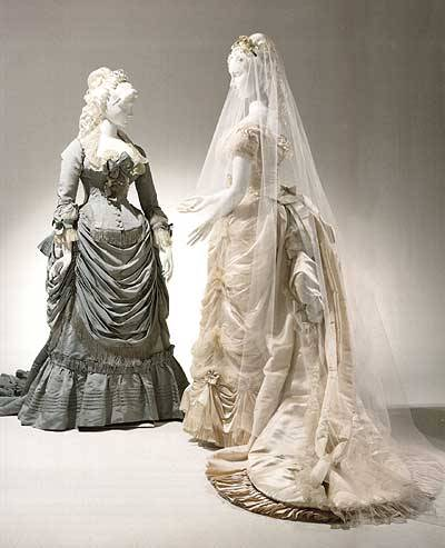 (right) Wedding dress by Worth, 1875, Bridal Lexington Museum
