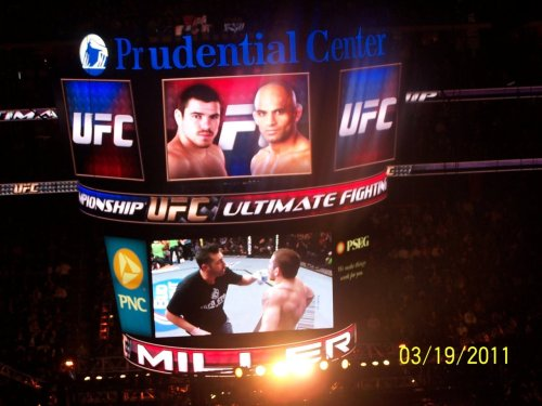 Me on the Big Screen coaching Jim Miller in between rounds at UFC 128 in NJ before his vicious Knee to the face knockout to improve his record to 20-2 overall (9-1 UFC)