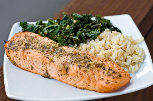 Lemon Pepper Salmon with Sauteed Kale