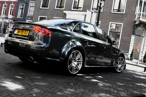 cartastic:  Audi RS4 Sedan. A wolf in sheep's clothing. Photo by Bjorn van Es.