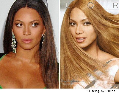 "L'Oreal Feria denied whitening Beyonce's face in this ad, which I think works against hip hop feminism. Knowles has enormous influence in the hip hop world and is looked up to by many customers and fans as one of the most successful women in hip hop and R&B music. This ad is a good visual example of how advertising (particularly for beauty products) often favors whiteness, and when they do use women of color in their ads, they still must look ""white enough"" to market the product. Beyonce is already light skinned, but apparently that wasn't enough for L'Oreal, who not only whitewashed her face but denied doing so. This message primarily affects L'Oreal's darker skinned customers as well as young hip hop and Beyonce fans. Industry preference for lighter skinned women is one of many body issues the hip hop generation faces, and there is barely any conversation or public acknowledgement about using women of color to market a white ideal of beauty. It sounds like an oxymoron to suggest companies use more ""natural air-brushing,"" but what is the point of using someone as a model if you use air-brushing to completely change the way they look instead of accentuating features they already have? And for the record, I doubt someone as rich as Beyonce has ever used a box hair dye in her life. L'Oreal should probably rethink their product representatives."