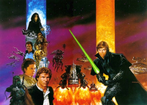 Dave Dorman's wraparound cover for the TPB collection of Star Wars: Dark Empire.
