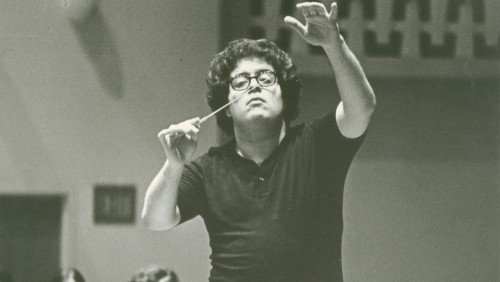 "Conductor James Levine on wildly gesticulating conductors: ""If your orientation is to watch the conductor, you get your aural sense interfered with in a way that is not completely controllable and conscious — because you see the conductor gesturing in a way that shows something about his feeling about the passage. And this, unconsciously, you measure against what you hear. And I think the most satisfying pieces that I hear live are usually conducted by conductors who have a very clear-cut idea of what their function is at a rehearsal and what their function is at a concert."""