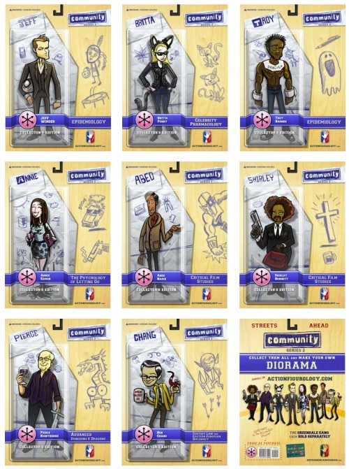 ilookedatthetrap:  Community action figures designed by Yehudi Mercado