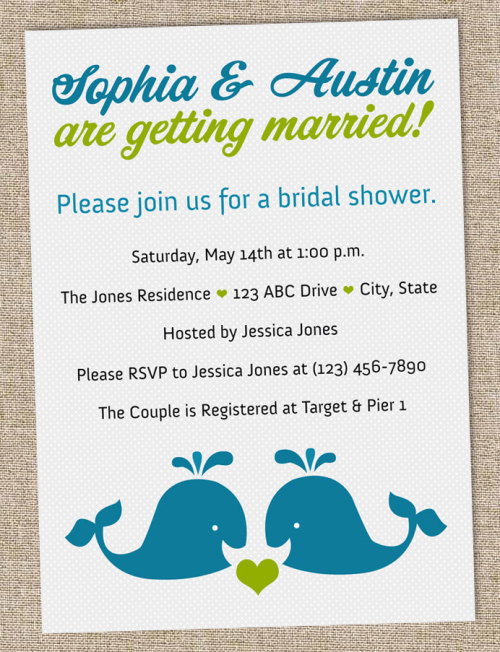 Blue & Green Whale-Themed Printable Bridal Shower Invite from Pink Olive Studio