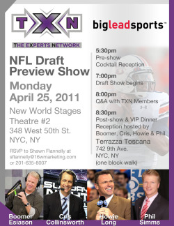 TXN NFL Draft Preview Show InvitationPhotoshop An invitation sent to partners, sponsors and friends for The Experts Network NFL Draft Preview Show held on April 25, 2011 in NYC. The show featured analysts Cris Collinsworth, Boomer Esiason, Howie Long and Phil Simms.