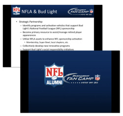 NFLA/Bud Light Partnership Presentation Photoshop, PowerPoint Presentation created to strike a working partnership  with Bud Light Fan Camps. Includes information regarding both companies  and the opportunities available for sponsorship.