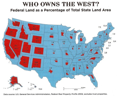sunfoundation:  sandypoint:  Who Owns The West?  The Federal Government Does.  See also the White House's map of excess federal properties — buildings the government owns but doesn't use or need.