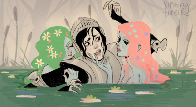 kippery:  girl soldier is pulled in a pond by horny mermaids  uuhh this description sounds like a porno ahahah drew this while i was waiting for food :0~~