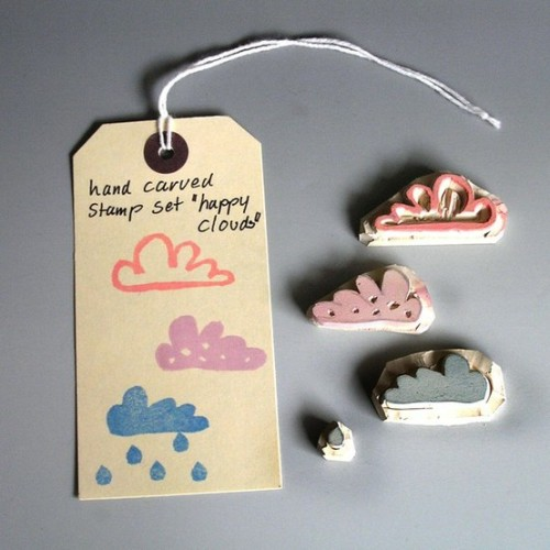 Adorable hand carved cloud stamps from Etsy…No idea what I would do with them but they're too damn cute!