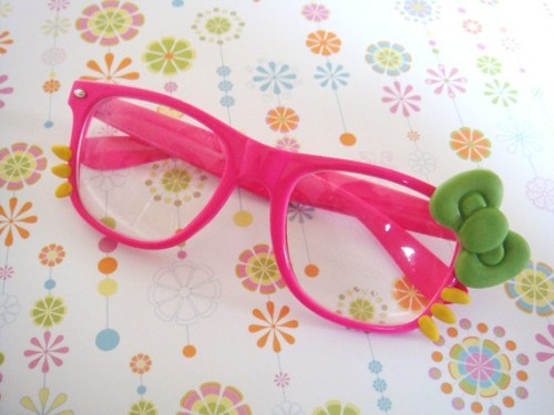 Pink/Green Big Bow Nerdy Sunglasses
