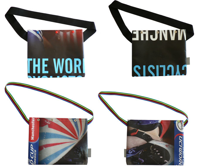 MANCHESTER WORLD CUP MUSETTES   I don't know what I'd do with a musette bag but Il Soigneur has made some brilliant bags out of recycled vinyl banners from the previous Manchester World Cup.  Check them out on Urban Hunter.  Found on Tracko.