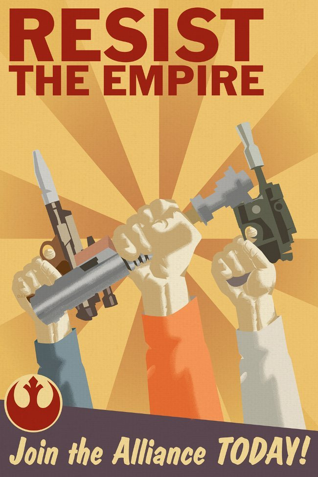 gabeweb:  Incredible Star Wars Propaganda Posters  RESIST THE EMPIRE.Join the Rebel Alliance TODAY!  (vía The PBH Network)