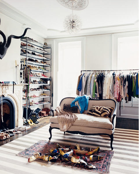 I think my borderline obsession with photos of nice closets is born from the fact mine consists of an ikea rack and a big pile of shoes