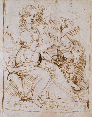 Young Woman Seated in a Landscape with a Unicorn; late 1470s