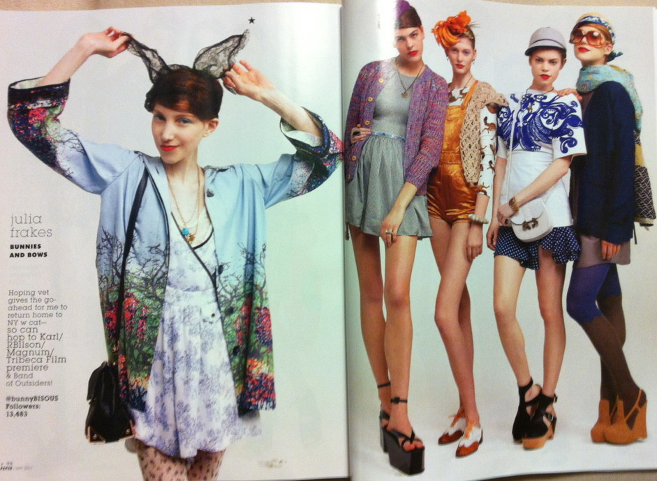 "Paper Magazine May 2011 — ""Styled Like Me"" I am heartily flattered to be featured amongst the industry legends within Paper's Social Media issue on newsstands now! I truly had a ball on set styling this little last-minute piece (including the four girls at right) alongside such an funloving crew; my sincerest thanks again!   On me: Maison Michel lace ears, Pamela Love turquoise skull necklace, Lulu Frost vintage charm necklace, Timo Weiland rain parka, Shipley & Halmos jumper, Alexander Wang Marion mini flap bag, Chloë Sevigny for Opening Ceremony x Fogal floral tights    Natalie: Chloë Sevigny for Opening Ceremony Sophie puff sleeve houndstooth dress, Lulu Frost vintage charm necklace, Henrik Vibskov Sokke bomber cardigan, vintage Navajo beaded belt, Acne wedges, Victoria Grant hat, Pamela Love tribal ring Iris: Deyrolle pour Opening Ceremony cat print tee, Marc Jacobs floral pin (worn as headband) and rust silk overalls, Rag & Bone beige net vest, Pamela Love spiked cuff, vintage Gravati brogues (with American Apparel peach ribbon laces) Aubrey: Opening Ceremony grey felt cap, Prada embroidered monkey top, Chloë Sevigny for Opening Ceremony Lissy boxy swing dress (shown as skirt), 3.1 Phillip Lim clogs, Lulu Frost vintage necklace and mesh bracelet, Derek Lam Ume ram messenger bag Flynn: Opening Ceremony Liberty print straw hat, Jeanette Farrier sari shawl, 3.1 Phillip Lim bow midriff dress (view here), Acne blazer, Hansel from Basel woolen pixie leggings, Marc Jacobs sunglasses, Alejandro Ingelmo for Chris Benz wedges"