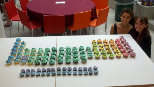 My friends Lisa and Abby made the Periodic Table of Cupcakes for the annual chemistry banquet. The lanthanides and actinides are gluten free!