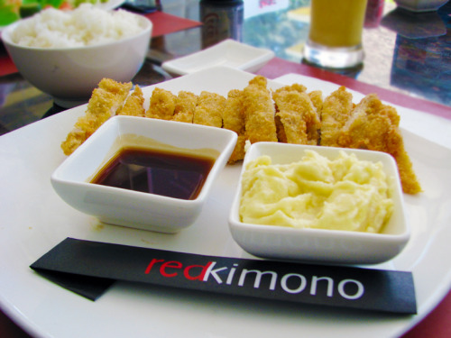 We ate at Red Kimono and I ordered chicken torikatsu and ramen.  The chicken was yummy!  The ramen was good too but it looked funny because the bowl was shaped like a toilet seat.  The restaurants gets 4 stars for its delicious food and presentation creativity!