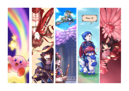 Gamer Bookmarks - by Tirinity From left to right: Kirby, Sengoku Basara, Touhou, Fire Emblem 7, Persona 4