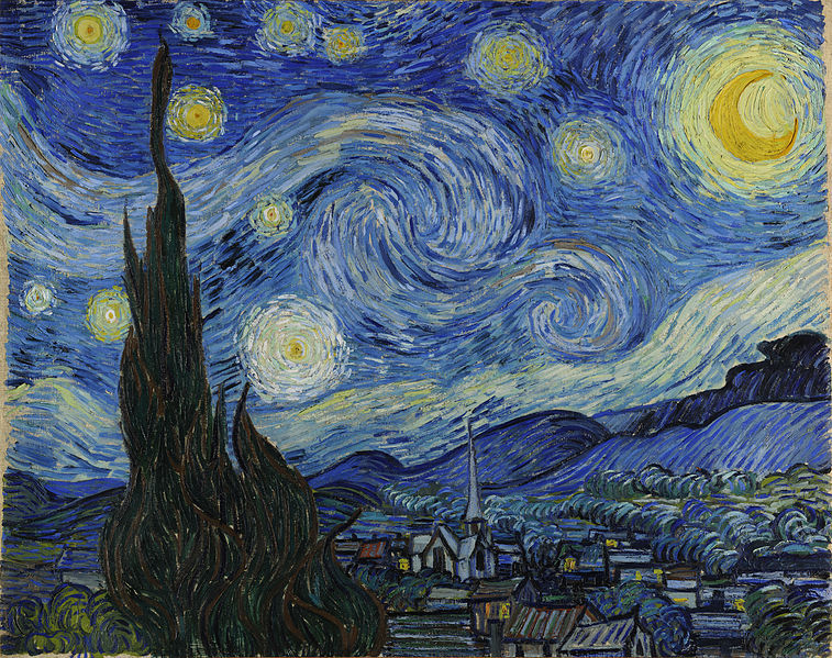 "The Starry Night (Dutch: De sterrennacht) is a painting by Dutch post-impressionist artist Vincent van Gogh. The painting depicts the view outside his sanitarium room window at night, although it was painted from memory during the day. Since 1941 it has been in the permanent collection of the Museum of Modern Art in New York City. Reproduced often, the painting is widely hailed as his magnum opus.In September 1888, while van Gogh was staying in Arles, he executed a painting commonly known as Starry Night Over the Rhone and later he incorporated a pen drawing in a set of a dozen based on recent paintings. Van Gogh claimed to have a ""terrible need for religion"" when he painted Starry Night Over the Rhone.In mid-September 1889, following a heavy crisis which lasted from mid-July to the last days of August, he thought to include this ""Study of the Night"" in the next batch of works to be sent to his brother, Theo, in Paris. In order to reduce the shipping costs, he withheld three of the studies (""above-mentioned – Poppies – Night Effect – Moonrise""). These three went to Paris with the shipment to follow. As Theo did not immediately report its arrival, Vincent inquired again, and finally received Theo's commentary on his recent work."