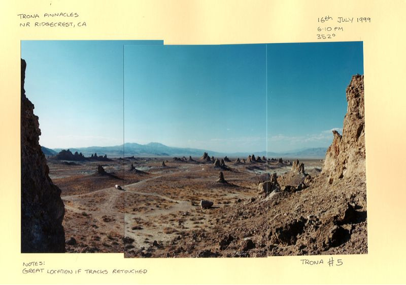 Amazing alien landscape.Trona Pinnacles CA. Taken by John Hope scouting for our shoot back in 1999.