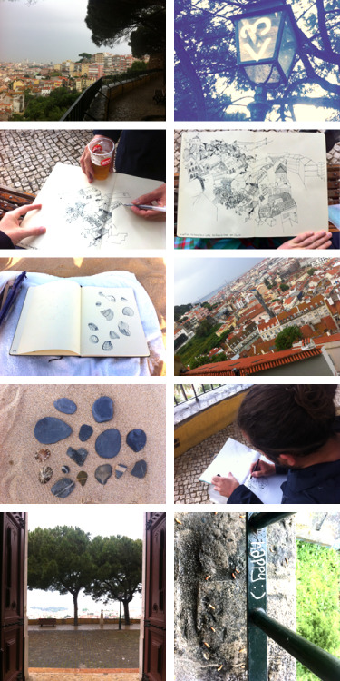The Drawing Club, no:03: LISBOA: Miradouro da Graca. 29th of april 2011. We took the cable car 28 to Miradouro da Graca in the rain. Well dressed with rain coat and warm clothes we wiped the water of a bench, sat down and started to draw. The drawing ink mixed with rain drops make wonderful effects and then it stopped so we actually spent a few hours on this wonderful view post. Thanks Ines Duarte for joing us in Lisboa.