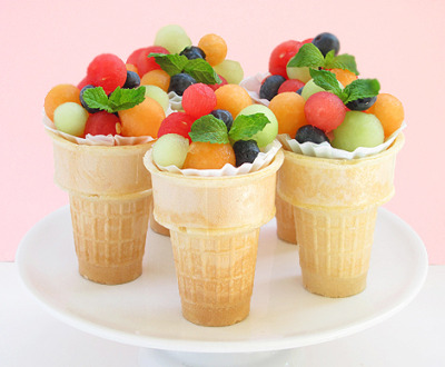fruit salad on ice cream cone