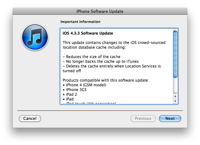 Image via Ars Technica:   Apple releases iOS 4.3.3, addressing location tracking concerns