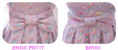 "A fascinating review of an Angelic Pretty ""Sugary Carnival"" replica dress was posted on the egl community. The consensus seems to be that for 50€ (approximately $73 USD) it's not a bad deal, but I'm going to disagree. From afar it looks OK, but unless you're planning on standing fifteen feet from everyone at all times that won't help you much. I'm not going to include the pics here — check out the source — but check out this laundry list of unacceptable flaws: Numbers written in pencil still remain on the straps Serge seams with literally inches of thread hanging out Completely uneven seams Cheap, ugly lace Buttons sewn on wrong side of strap The print is a direct plagiarism, right down to the Angelic Pretty logo I am sure to get an influx of responses from people who buy replicas defending this, saying, ""We can't all afford brand!"" That's fine. There are other Chinese and Korean brands that are doing affordable yet original designs. What this company is doing is blatantly illegal. Not only are they copying the hard work of the artist that did the print, they are trying to cash-in on AP's brand value even more by attaching their logo directly to their work. Not only that, but this incredibly low level of workmanship on any commercial product is unacceptable. A cheap piece of garbage is still a piece of garbage. Stand up for the people who pioneered the designs and styles you adore. Buy the originals or buy from cheaper brands doing affordable, original designs. Don't buy replicas. Comment on this post at HARAJUJU.net Forums"