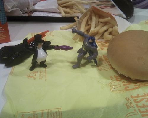 I was so stoked when I saw that McDonalds has Batman toys. I relived my childhood with The Penguin, Batman and a cheeseburger. :)