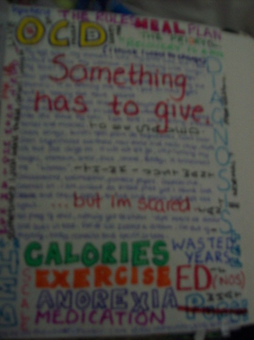 Sorry it is a bit blurry. This is about my Eating Disorder, I feel bad that it isn't a happy page or a pretty page. I just sat down and wrote and found some felt tips and wrote some more. I didn't try to make it pretty, I didn't try to make it ugly. It is what it is and it isn't a blank page anymore. Page 14, By Eloise x Love you, girl <3