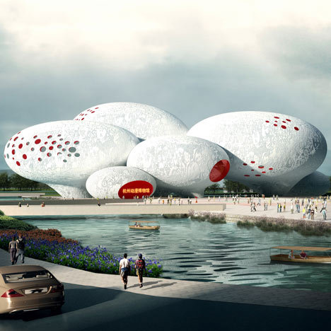 Comic and Animation Museum by MVRDV  Dutch studio MVRDV have won a design competition to build a Comic and Animation Museum in Hangzhou, China, formed of eight giant balloon-shaped forms.