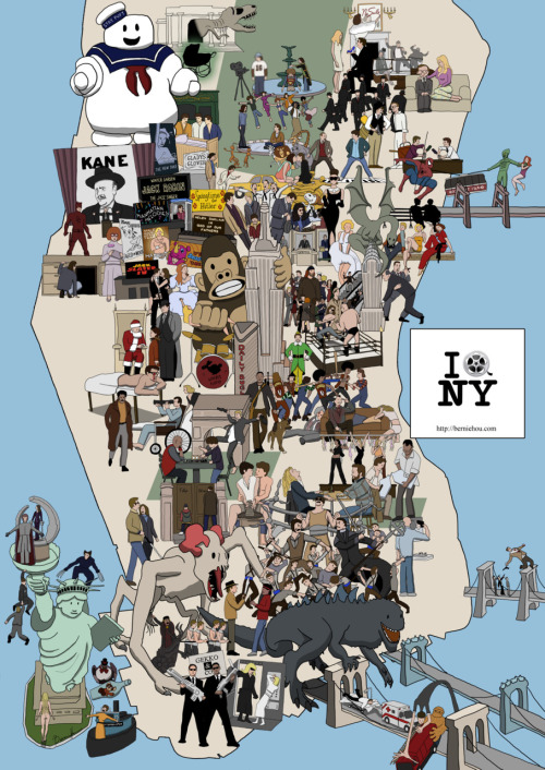 From Godzilla to Citizen Kane: an amazing illustrated map of NYC's movies. /vía @maptd