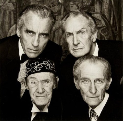 gothiccharmschool:  Christoper Lee, Vincent Prince, John Carradine, and Peter Cushing are judging you. @StuntHusband sent this to me, from Chateau Thrombeau.