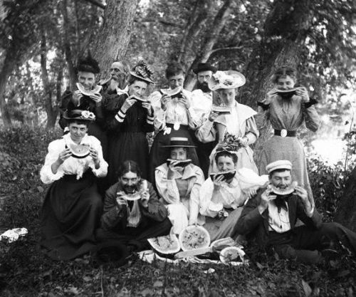 Picknickers in the Maine woods holding a watermelon party, 1894